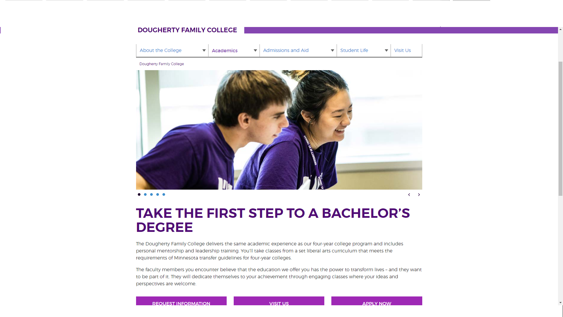 Dougherty Family College website sample